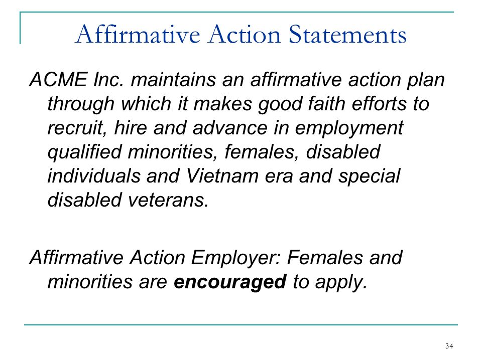 Affirmative Action Statements