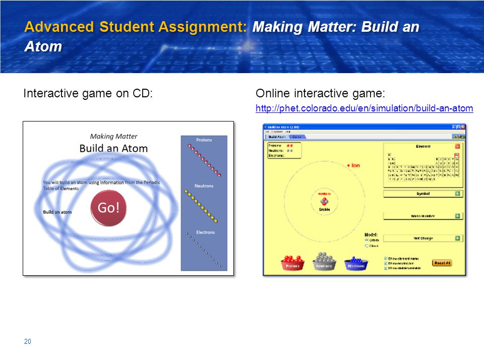 Advanced Student Assignment: Making Matter: Build an Atom