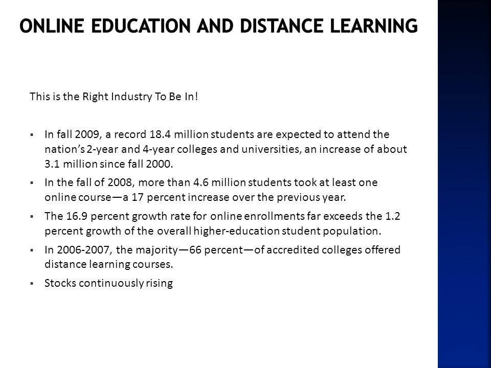 Online Education and Distance Learning