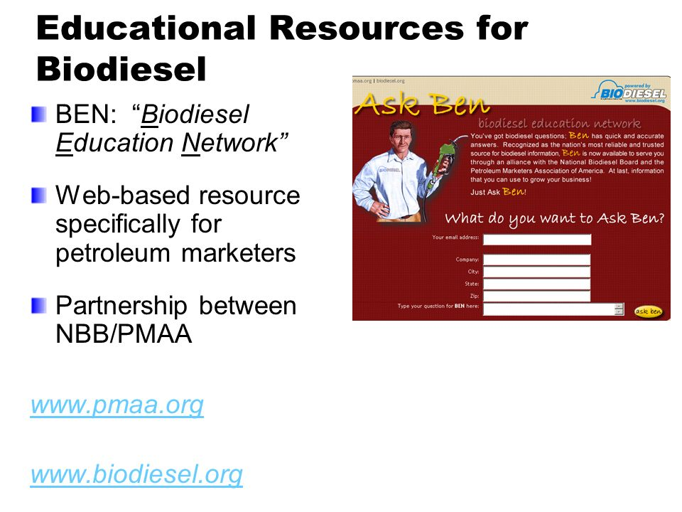 Educational Resources for Biodiesel