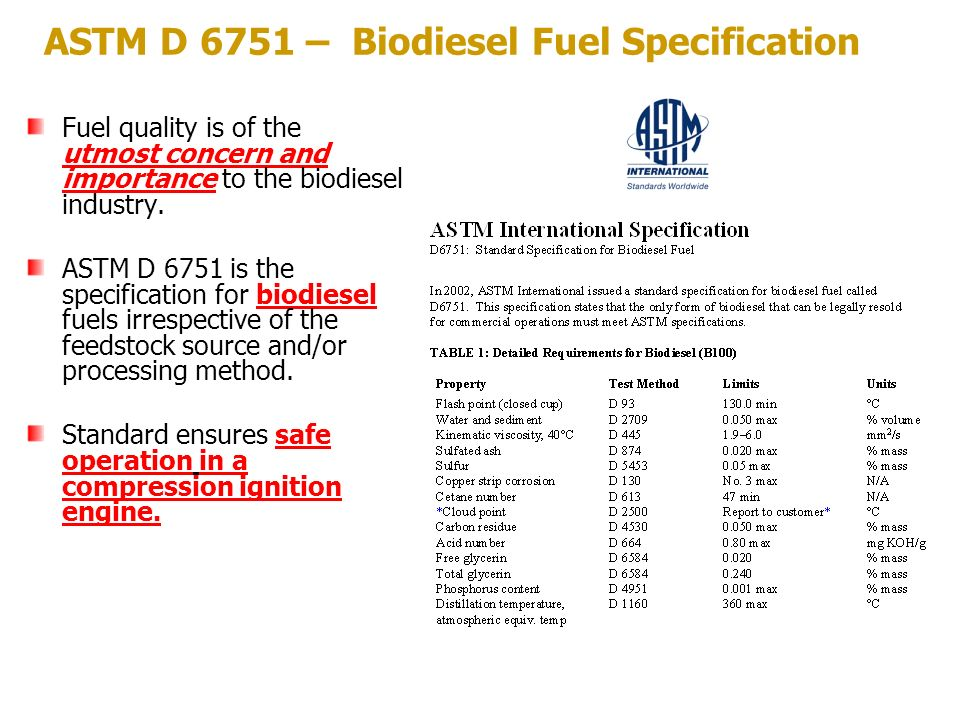 ASTM D 6751 – Biodiesel Fuel Specification