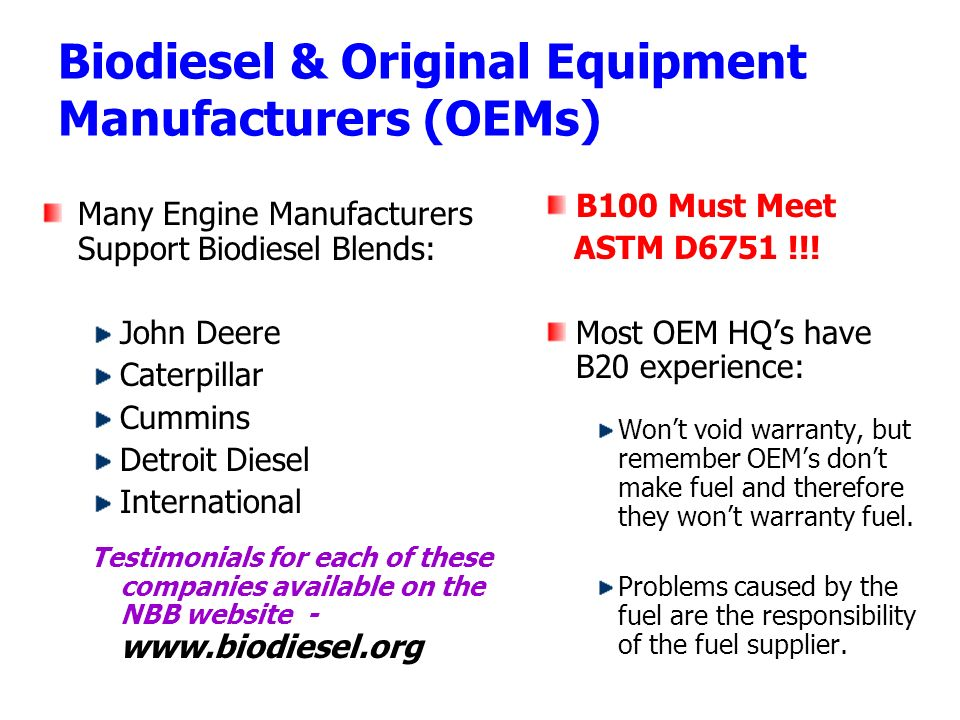 Biodiesel & Original Equipment Manufacturers (OEMs)