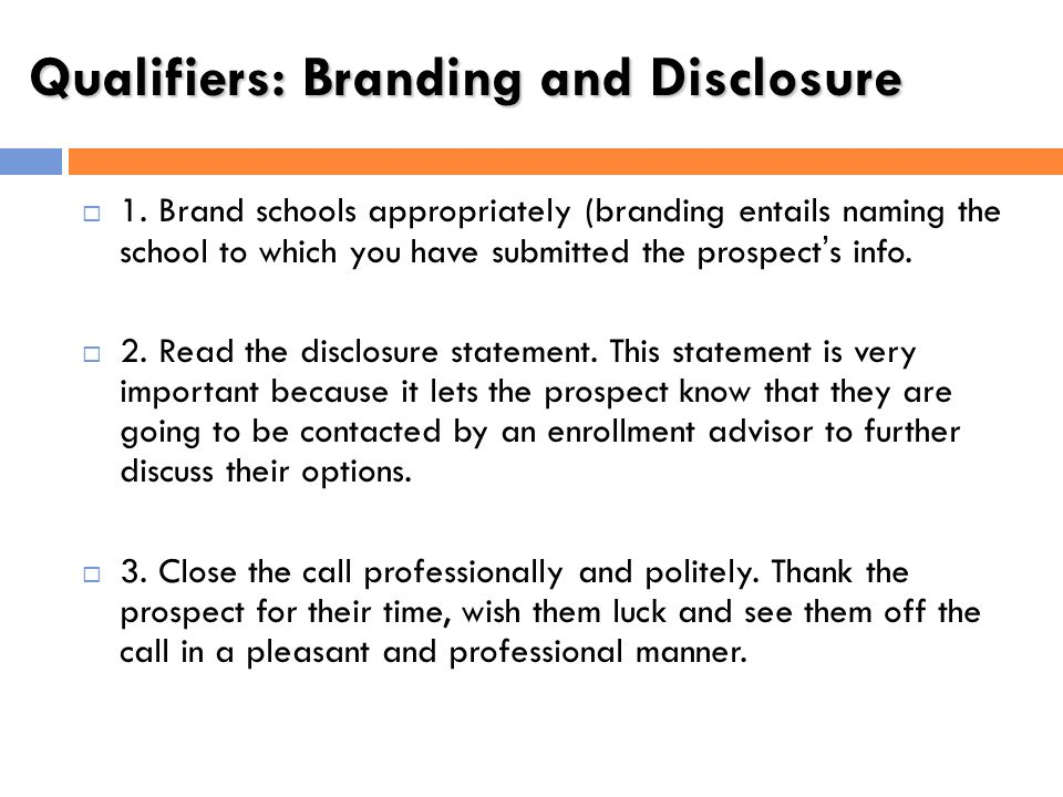 Qualifiers: Branding and Disclosure