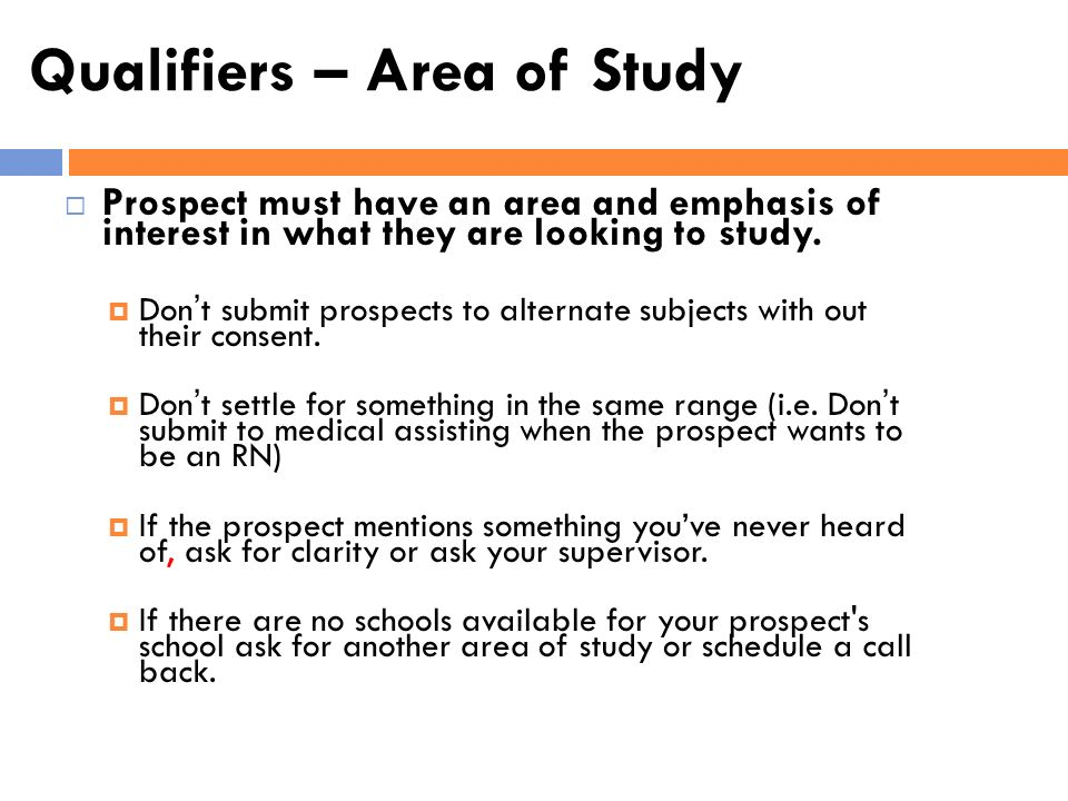 Qualifiers – Area of Study