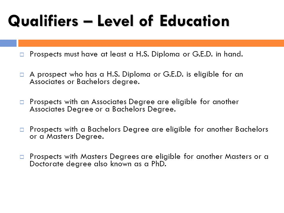 Qualifiers – Level of Education