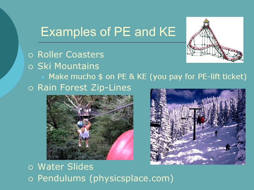 Examples of PE and KE Roller Coasters Ski Mountains