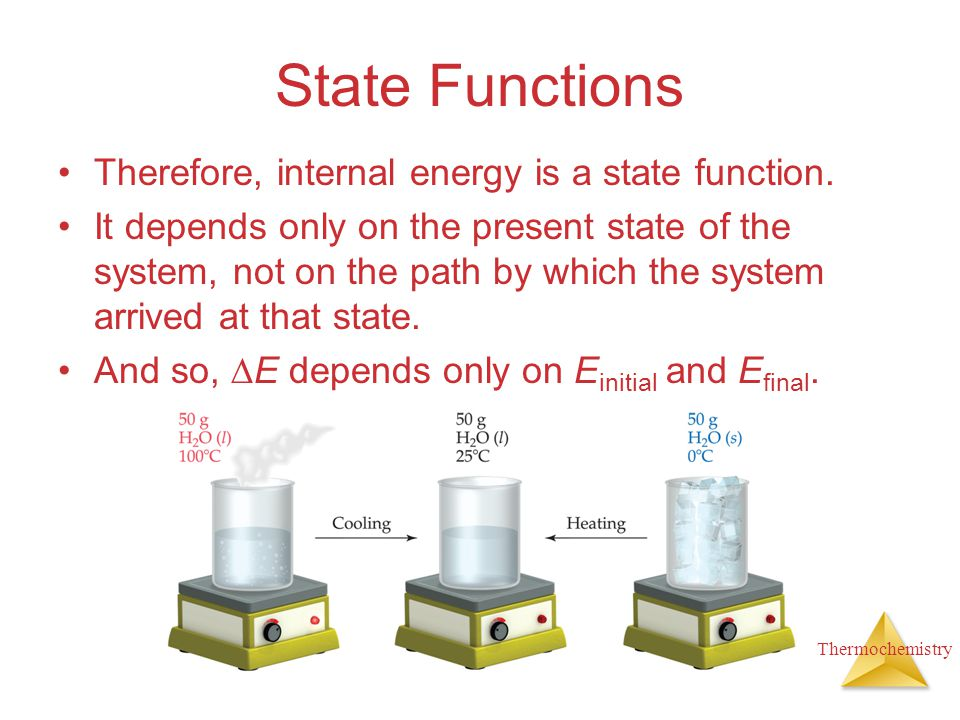State Functions Therefore, internal energy is a state function.