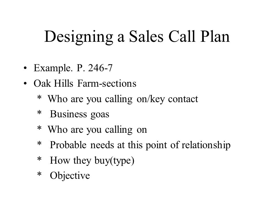 Designing a Sales Call Plan