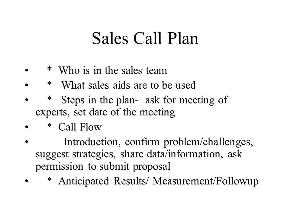 Sales Call Plan * Who is in the sales team