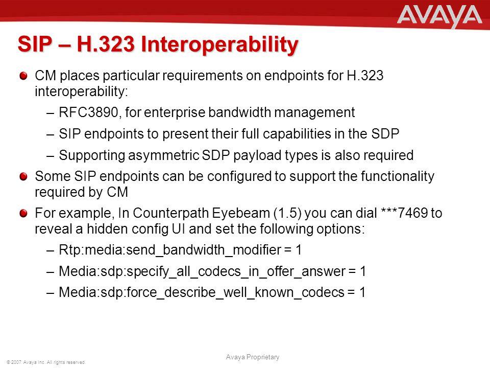 SIP – H.323 Interoperability