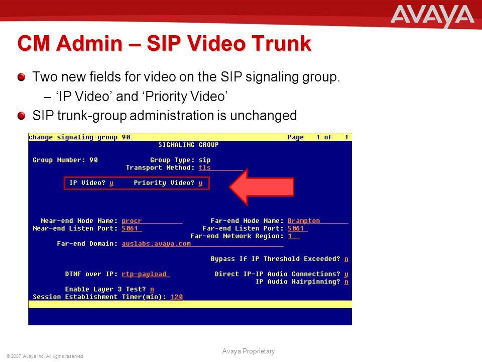 CM Admin – SIP Video Trunk
