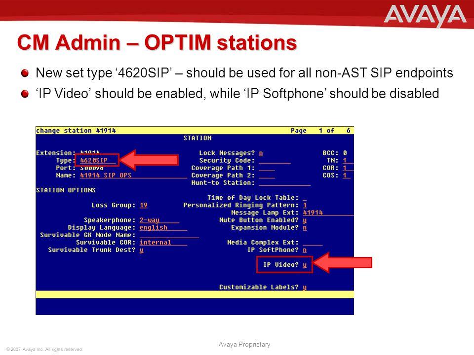 CM Admin – OPTIM stations