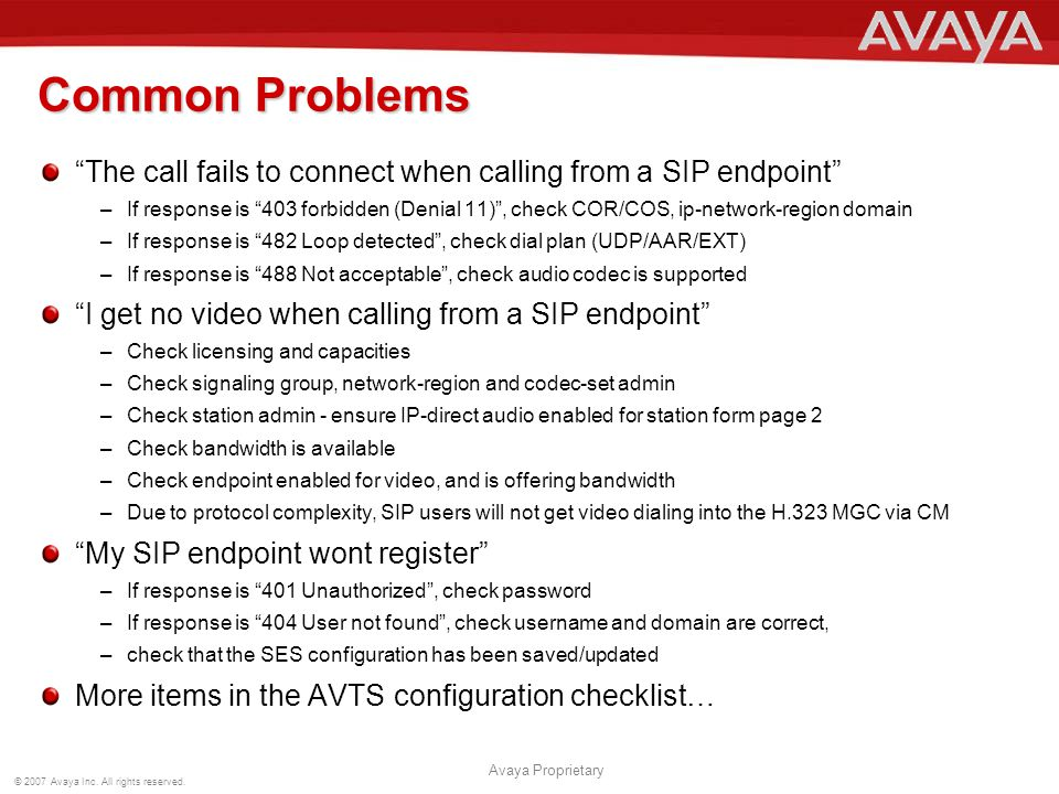 Common Problems The call fails to connect when calling from a SIP endpoint