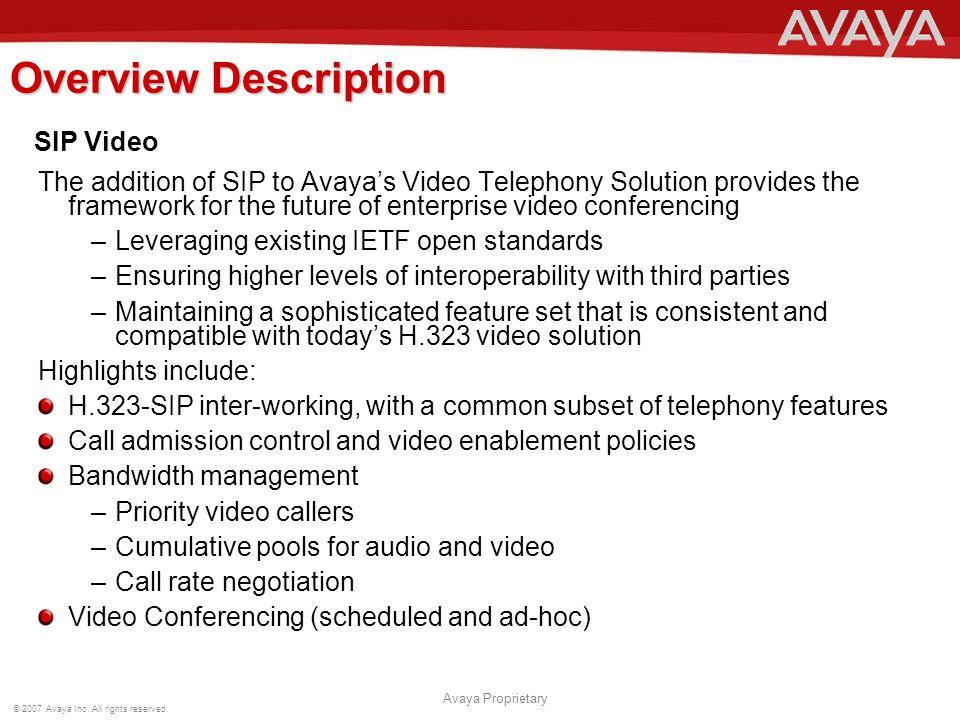 Overview Description SIP Video