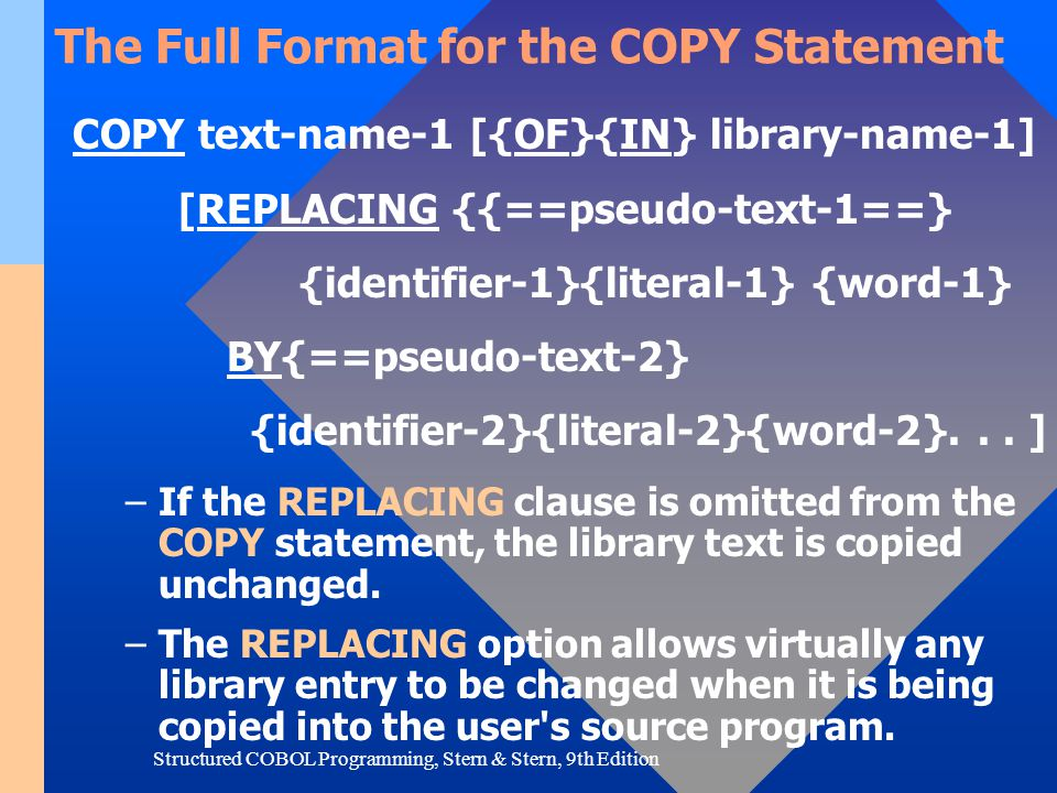 The Full Format for the COPY Statement