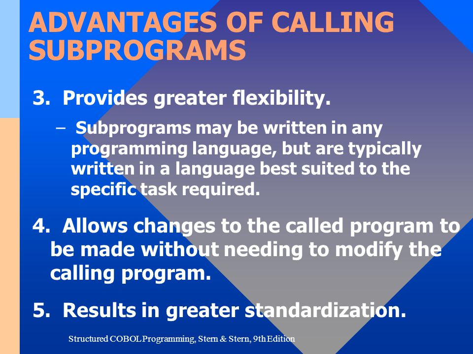 ADVANTAGES OF CALLING SUBPROGRAMS