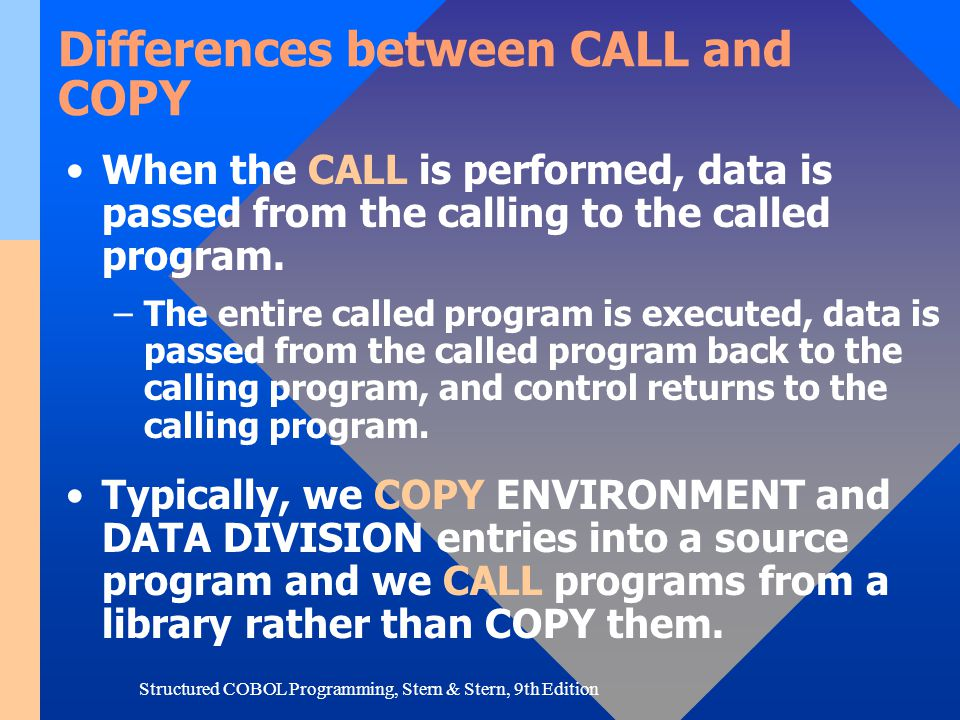 Differences between CALL and COPY