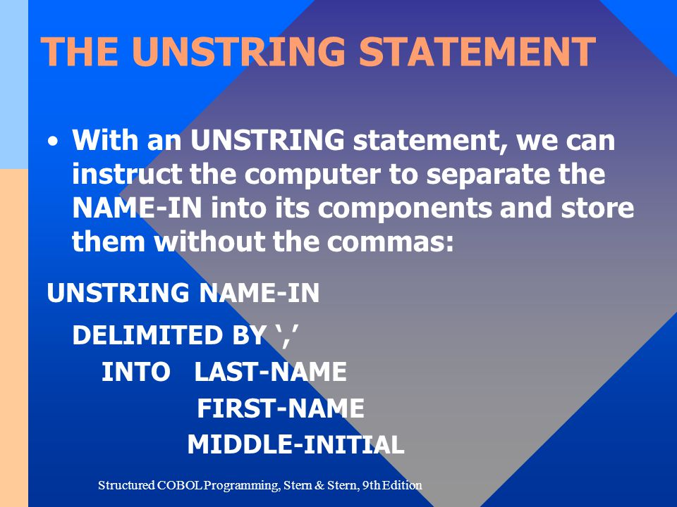 THE UNSTRING STATEMENT