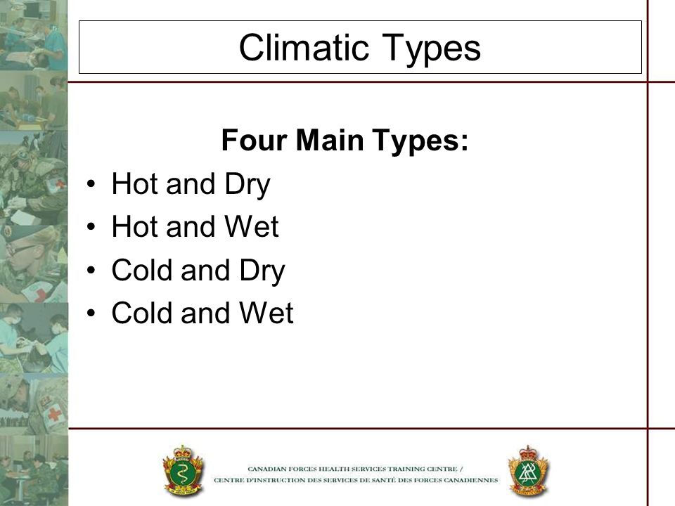 Climatic Types Four Main Types: Hot and Dry Hot and Wet Cold and Dry