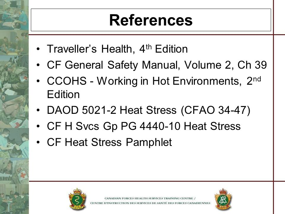 References Traveller's Health, 4th Edition