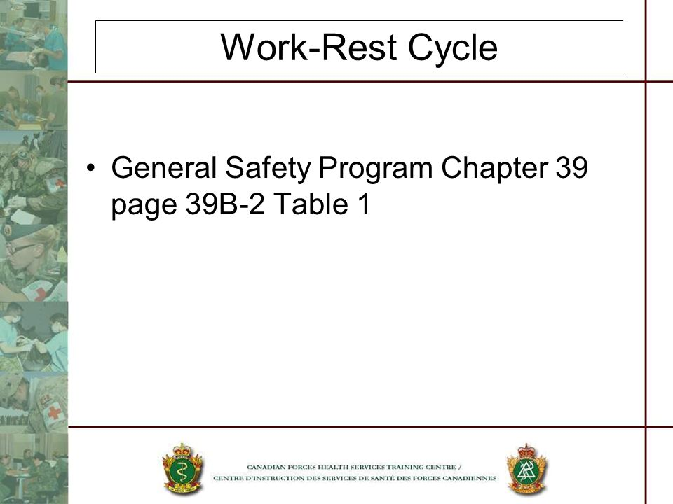 Work-Rest Cycle General Safety Program Chapter 39 page 39B-2 Table 1