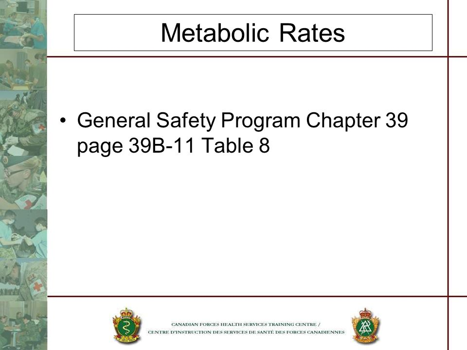 Metabolic Rates General Safety Program Chapter 39 page 39B-11 Table 8