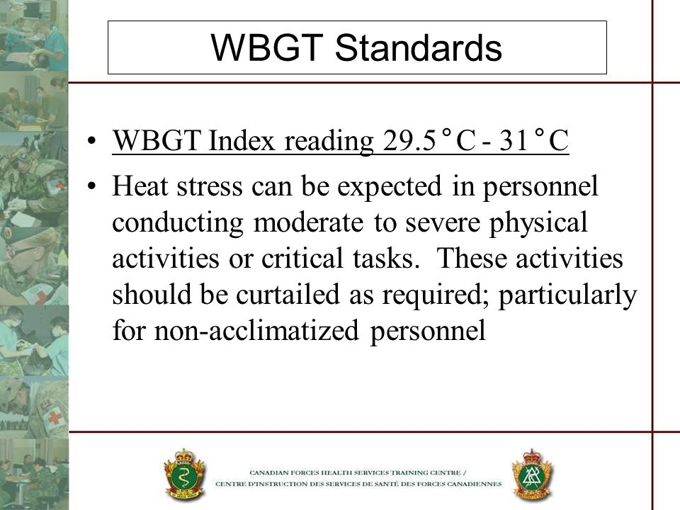 WBGT Standards WBGT Index reading 29.5°C - 31°C