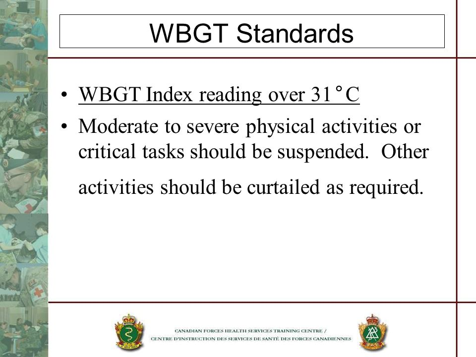 WBGT Standards WBGT Index reading over 31°C