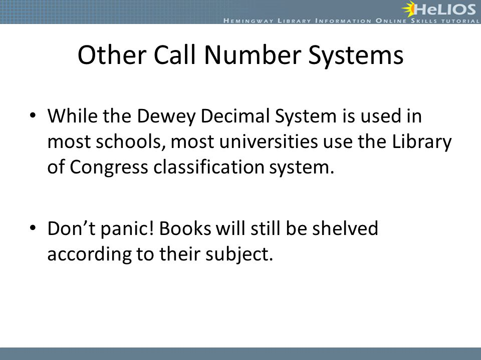 Other Call Number Systems
