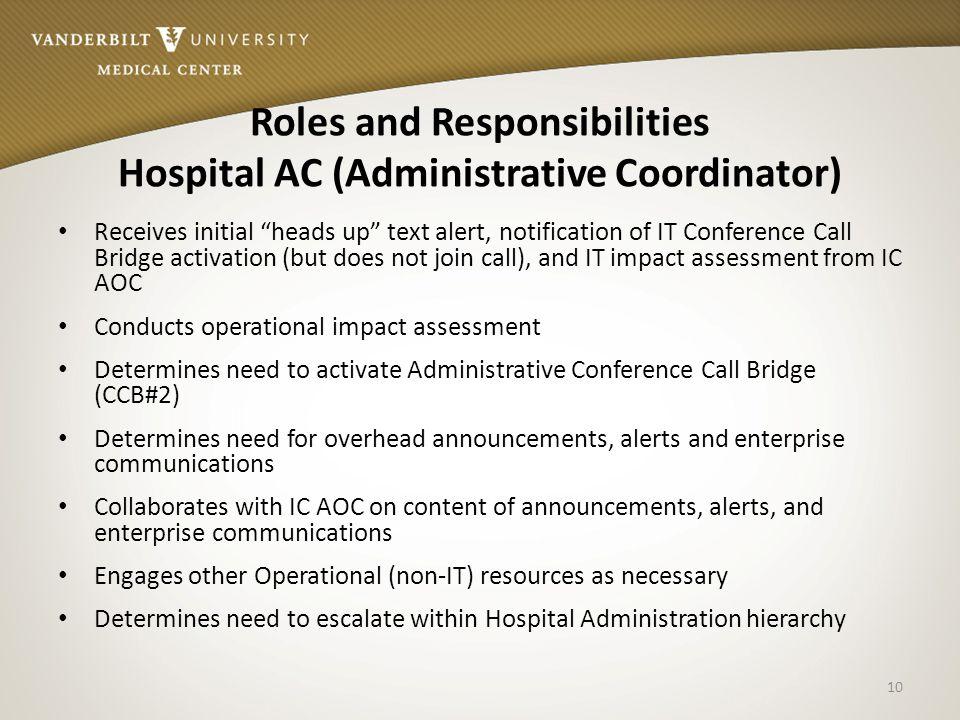 Roles and Responsibilities Hospital AC (Administrative Coordinator)
