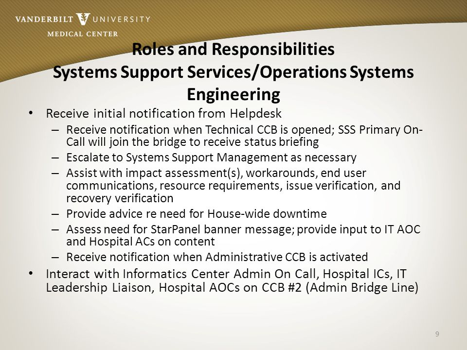 Roles and Responsibilities Systems Support Services/Operations Systems Engineering