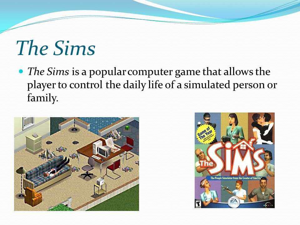 The Sims The Sims is a popular computer game that allows the player to control the daily life of a simulated person or family.