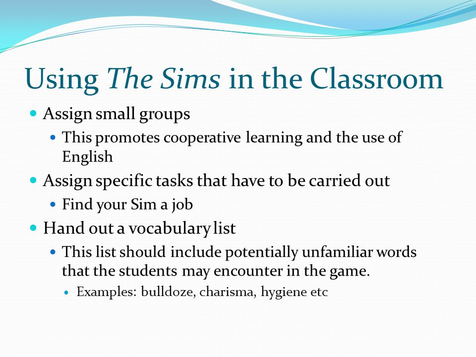 Using The Sims in the Classroom