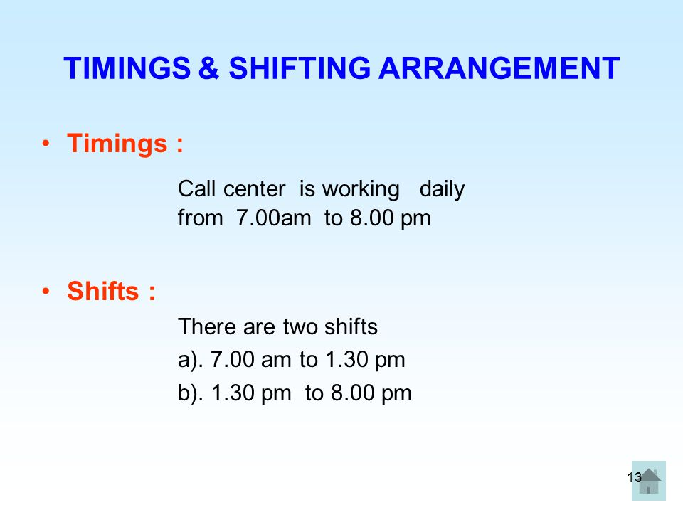 TIMINGS & SHIFTING ARRANGEMENT