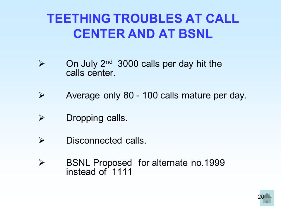 TEETHING TROUBLES AT CALL CENTER AND AT BSNL