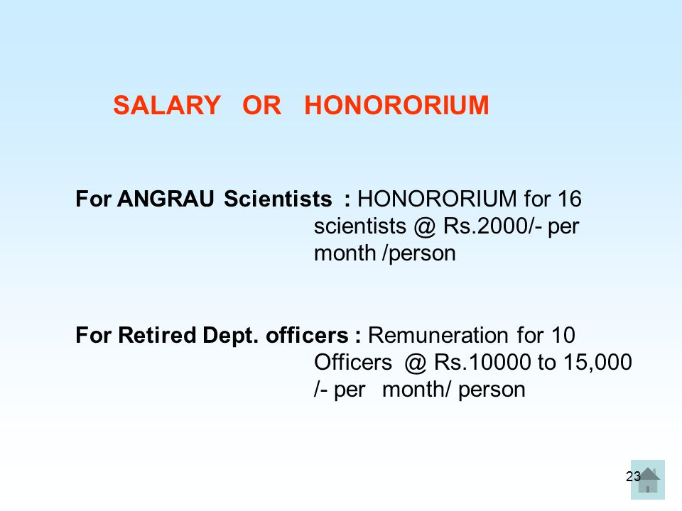 SALARY OR HONORORIUM For ANGRAU Scientists : HONORORIUM for 16 scientists @ Rs.2000/- per month /person.