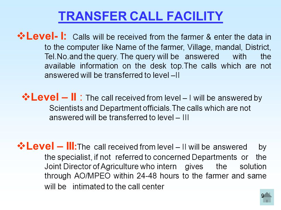 TRANSFER CALL FACILITY
