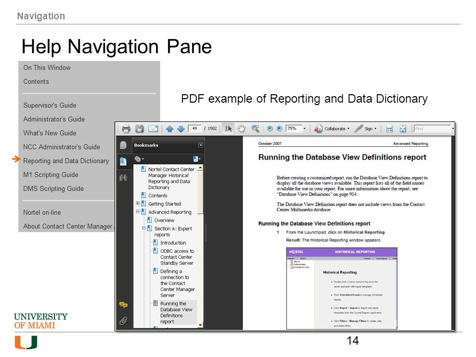 Help Navigation Pane PDF example of Reporting and Data Dictionary