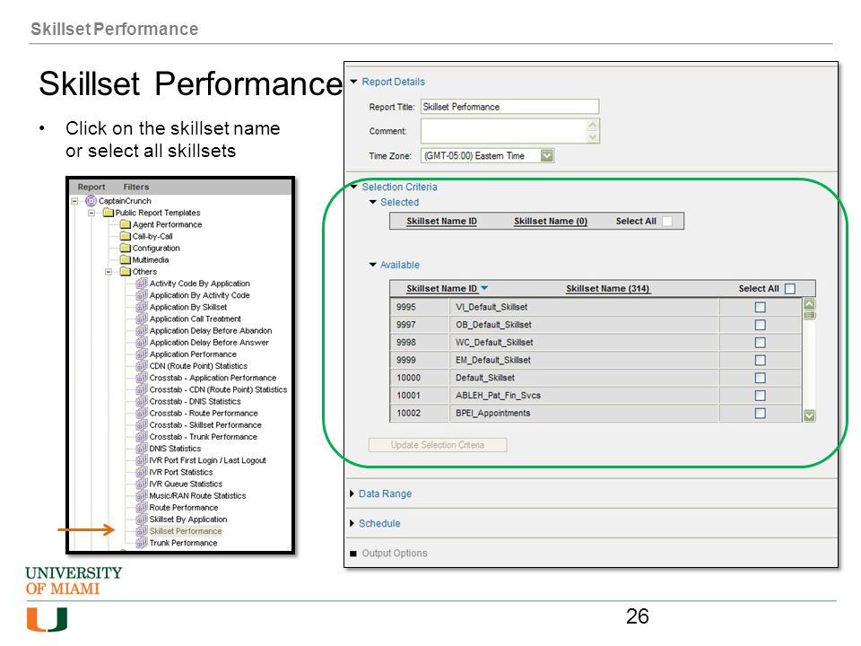Skillset Performance Skillset Performance Click on the skillset name or select all skillsets