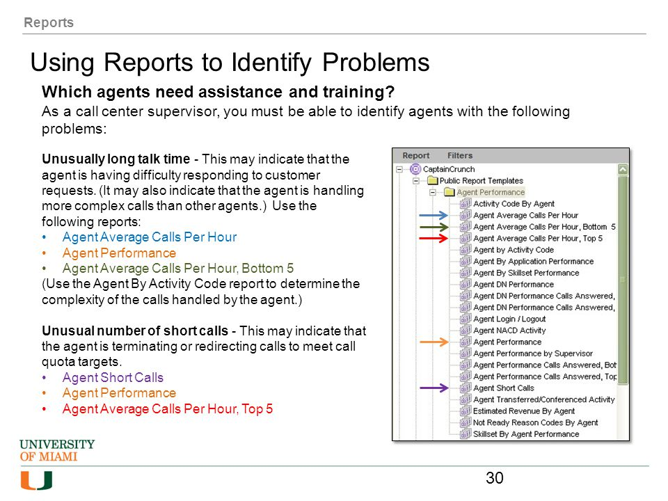 Using Reports to Identify Problems