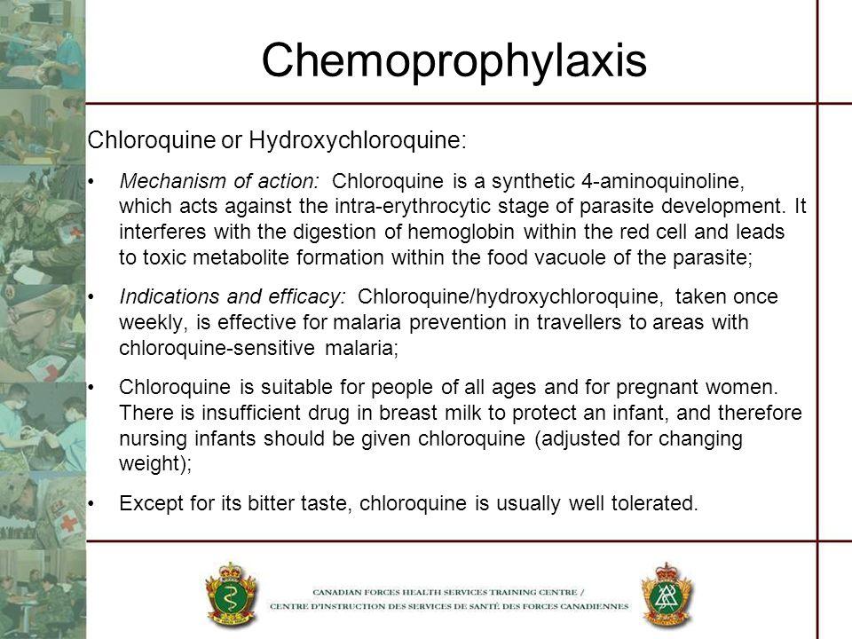 Chemoprophylaxis Chloroquine or Hydroxychloroquine: