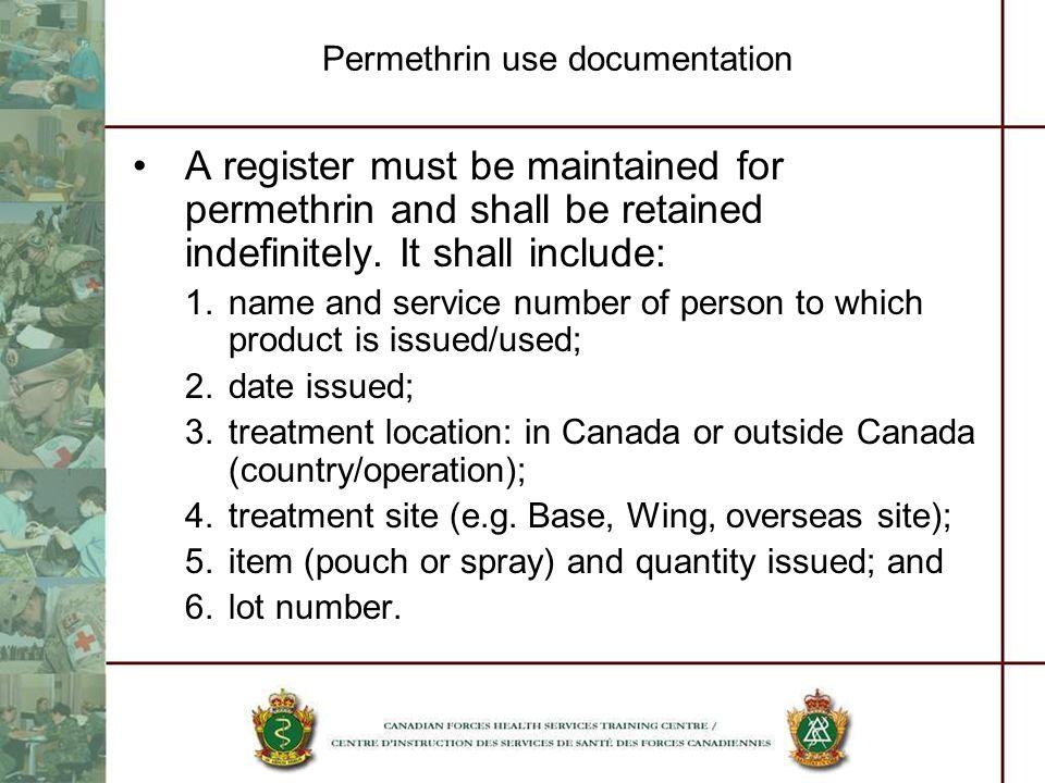 Permethrin use documentation