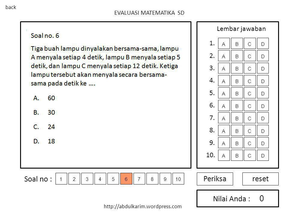 Soal no : Periksa reset Nilai Anda : Lembar jawaban 1. 2. 3. 4. 5. 6.