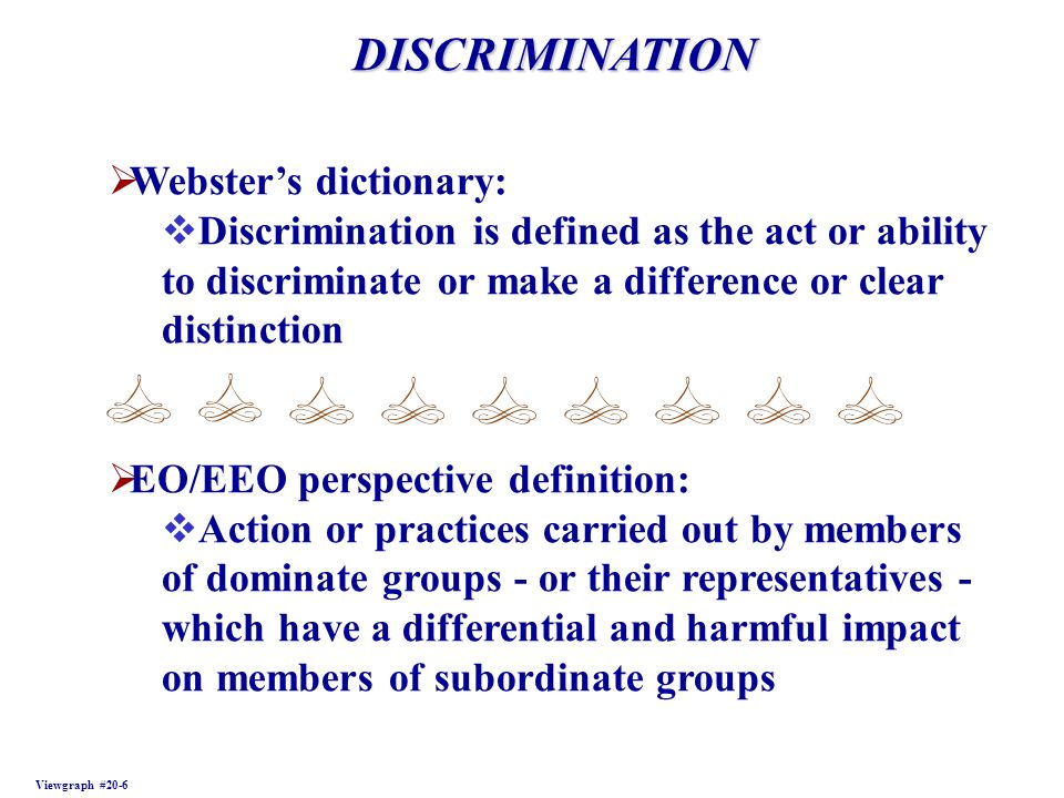 DISCRIMINATION Webster's dictionary: