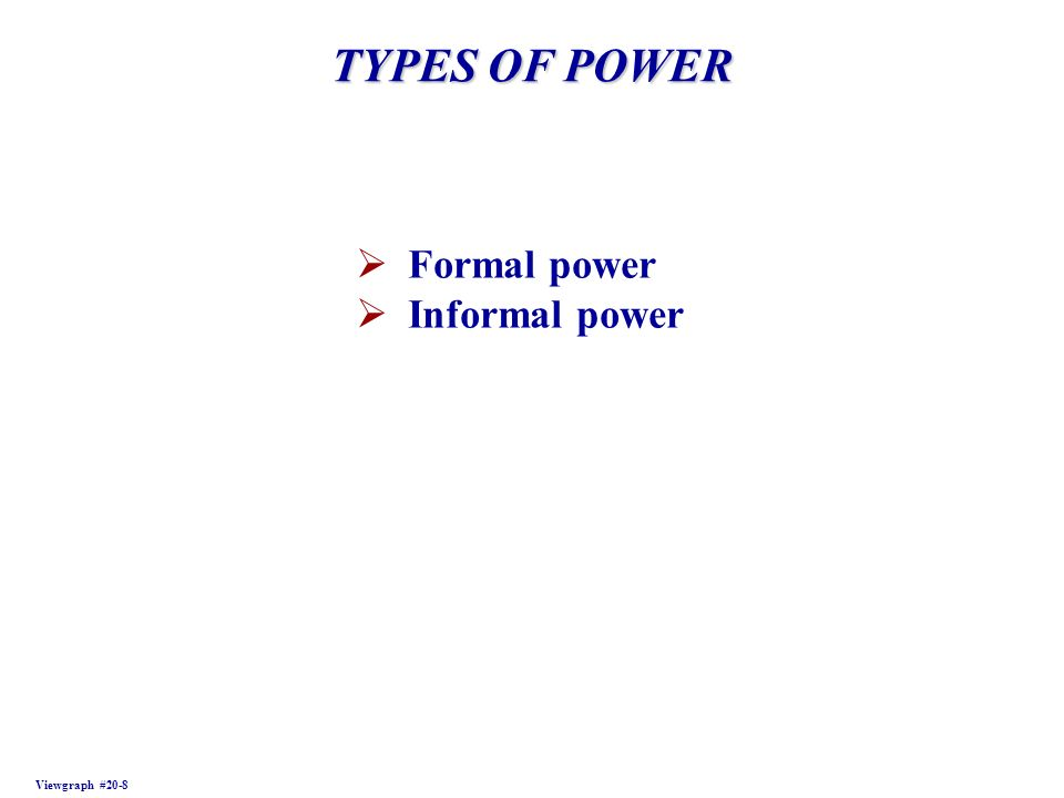TYPES OF POWER Formal power Informal power Viewgraph #20-8