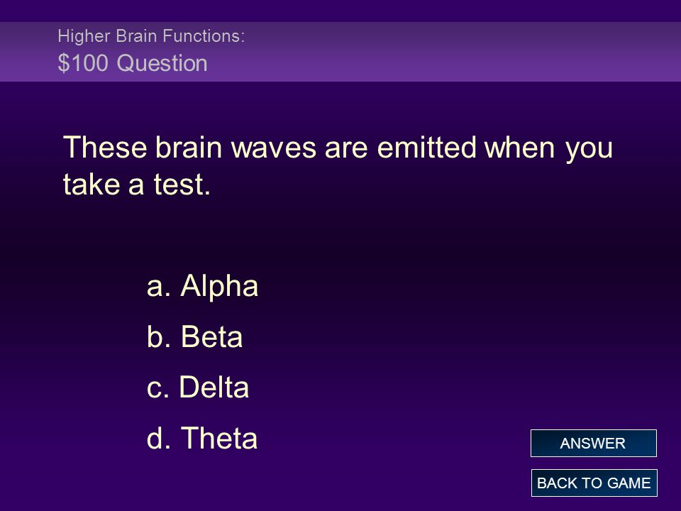 Higher Brain Functions: $100 Question