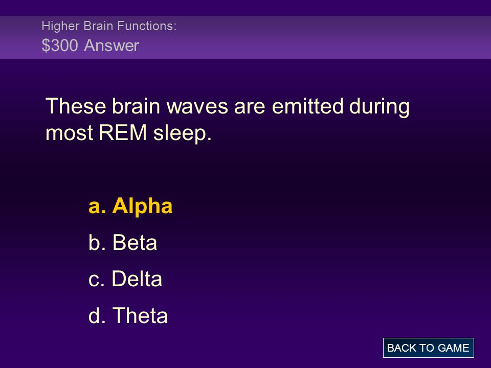 Higher Brain Functions: $300 Answer