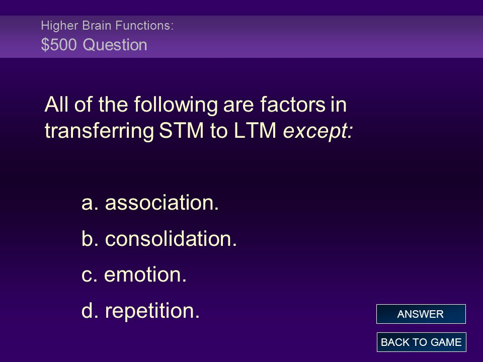 Higher Brain Functions: $500 Question