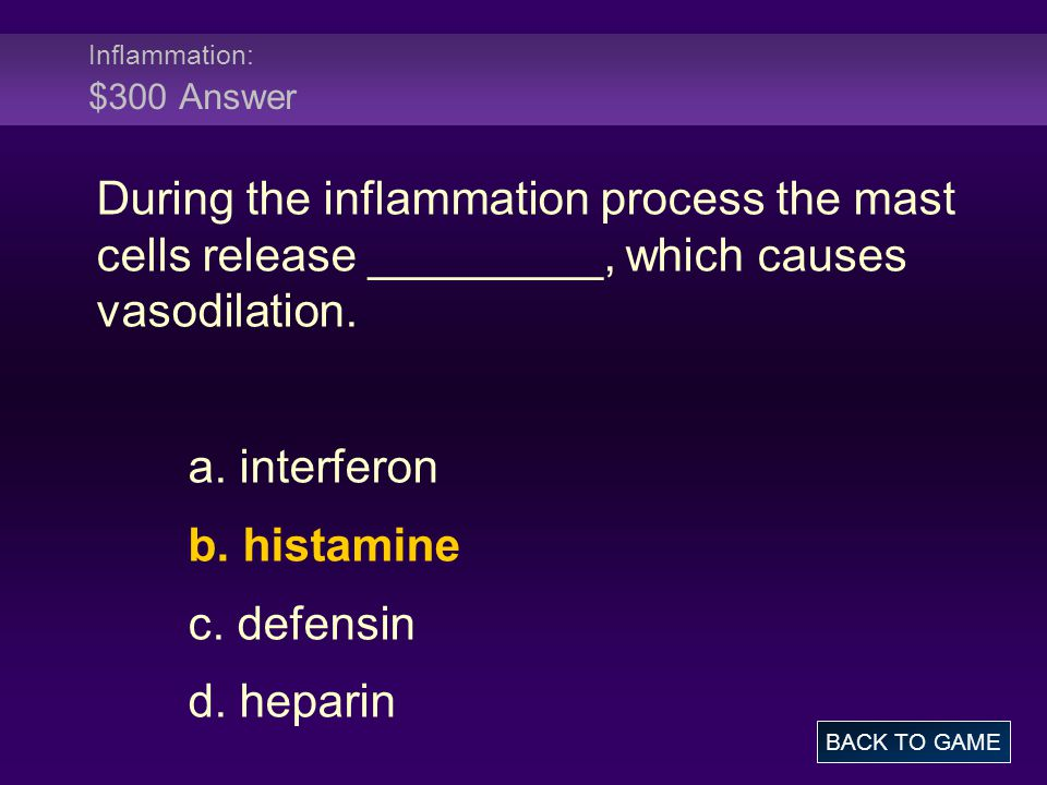 Inflammation: $300 Answer