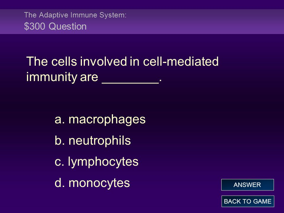 The Adaptive Immune System: $300 Question